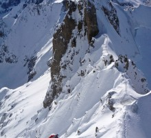 Isaac following on the climb up to Aiguille Rochefort