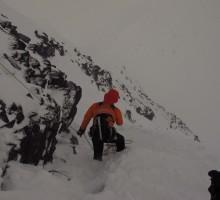 Magnus leading on a steep slope