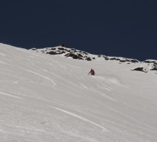 Tobbe follow me on one of the steepest powder pitches I've skied in Scandinavia