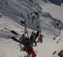 Half the group, short roping or getting short roped up the West Ridge of Kebnepakte