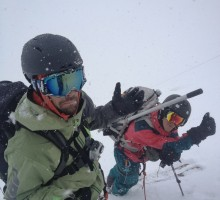 JP Auclair and Bjarne Salén just about to start skiing after the traverse