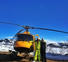 The boys and their Heli: guides Stefan Palm och Tomas Halén ready to take you to the best snow you can find!