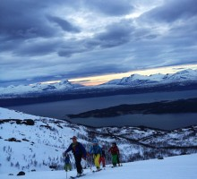 Evening ski touring at Rombakstötta outside of Narvik, Norway