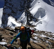 Mark Sears and Ismael Santos at the Breithorn traverse in Switzerland