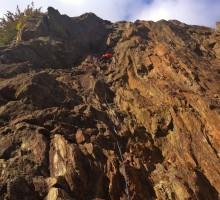 Afternoon climbing at Gaillands, Chamonix.