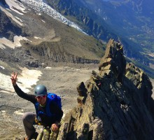 "Ale Campos on the ""Butterfly arete"" , Chamonix"