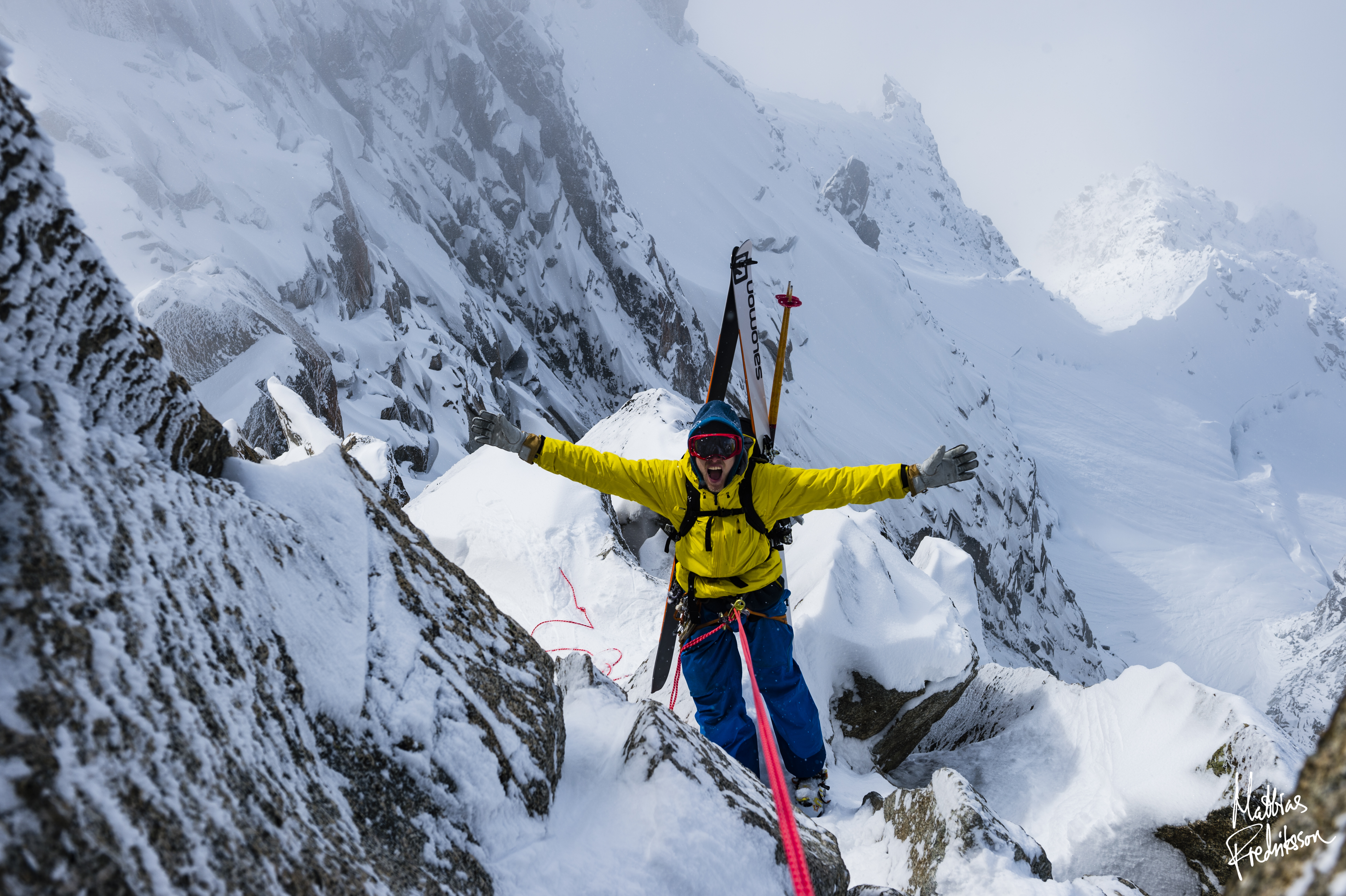 Andreas Fransson rappelling in Chamonix, France.